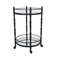 "Metal 28"" 2 Tier Round Bar Cart, Black"