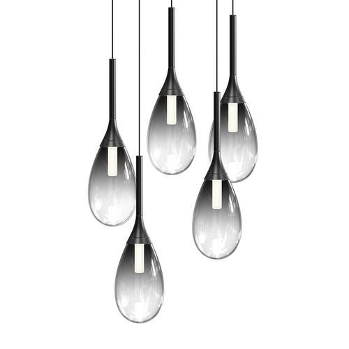 Sonneman - A Way of Light - Parisone LED Pendant [Size=5-Light, Color/Finish=Satin Black w/Smoke Glass]