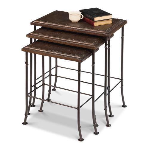 Croc Leather Nesting Tables, Set/3