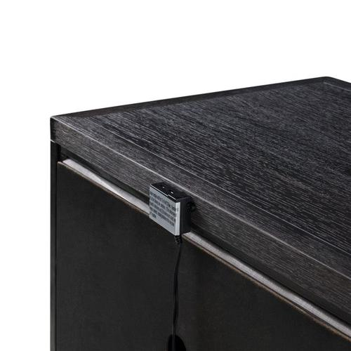 Thomas Black Single Drawer Nightstand with USB Charging Station, Black