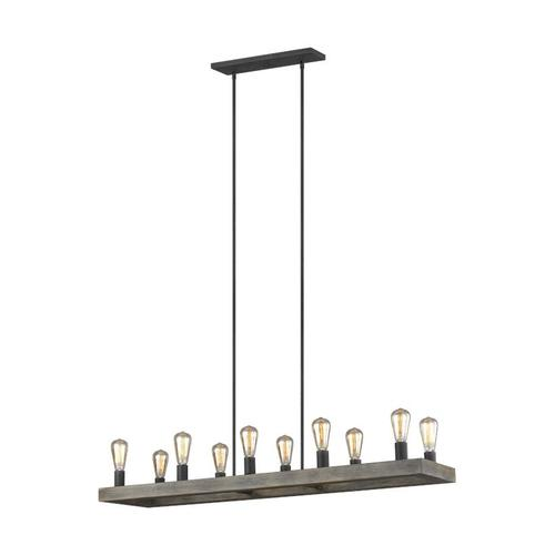 Avenir Linear Chandelier Weathered Oak Wood / Antique Forged Iron