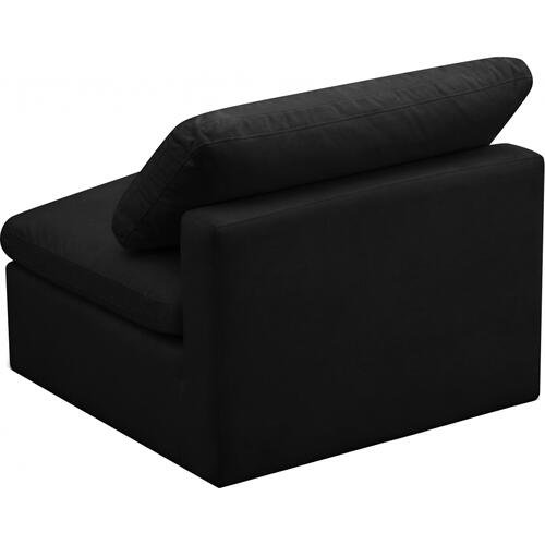 "Plush Velvet Standard Cloud Modular Down Filled Overstuffed Armless Chair - 35"" W x 35"" D x 32"" H"