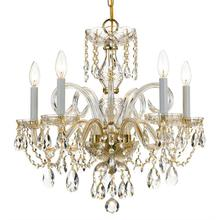 Traditional Crystal 5 Light Sp ectra Crystal Brass Chandelier