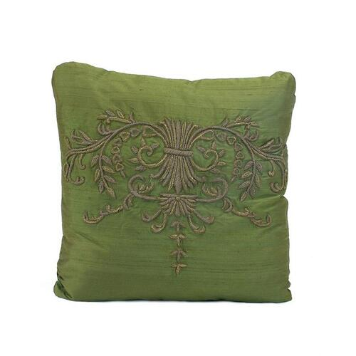 Forrest Green Heavily Embroidered Pillow