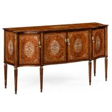 Burl and Mother of Pearl Inlaid Serpentine Sideboard