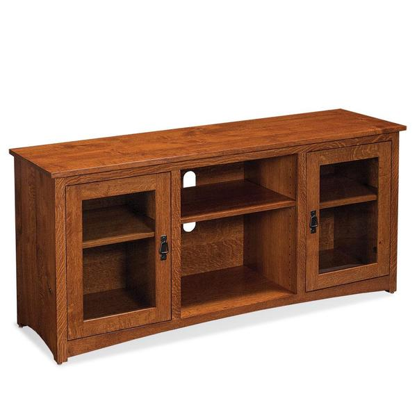 """See Details - San Miguel TV Console with Glass Doors and Open Center, 54""""w x 18 """"d x 28 """"h"""