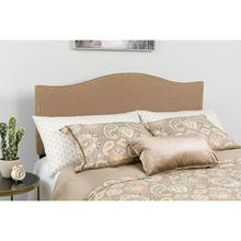 Lexington Upholstered Queen Size Headboard with Accent Nail Trim in Camel Fabric