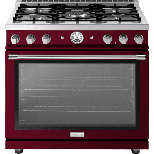"Range LA CUCINA 36"" Classic Stellar Finishing Aubergine 5 gas, gas oven"