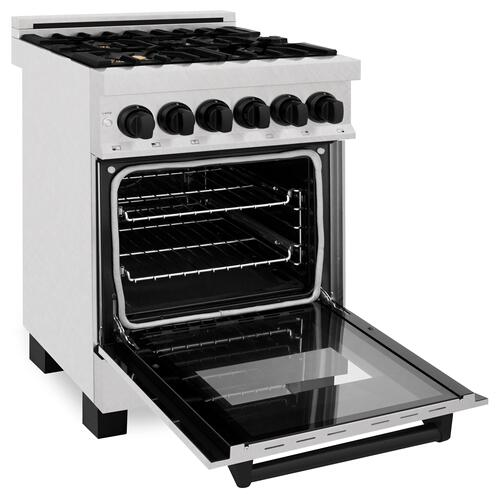"""Zline Kitchen and Bath - ZLINE Autograph Edition 24"""" 2.8 cu. ft. Dual Fuel Range with Gas Stove and Electric Oven in DuraSnow® Stainless Steel with Matte Black Accents (RASZ-SN-24-MB) [Color: Champagne Bronze]"""