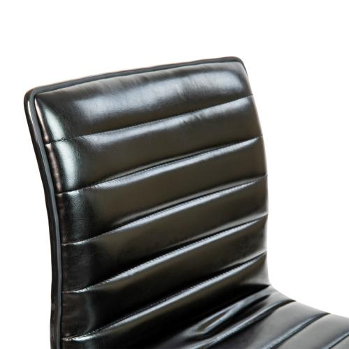 Gallery - Low Back Designer Armless Black Ribbed Swivel Task Office Chair with Black Frame and Base