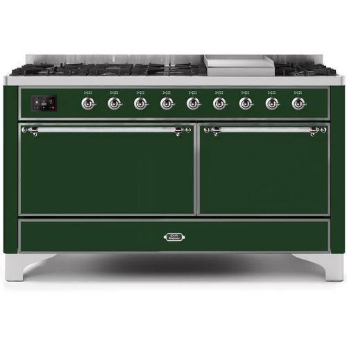 Majestic II 60 Inch Dual Fuel Natural Gas Freestanding Range in Emerald Green with Chrome Trim