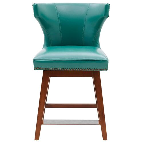 Howie KD Bonded Leather Swivel Counter Stool, Turquoise