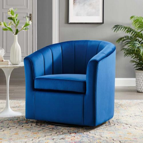 Prospect Performance Velvet Swivel Armchair in Navy