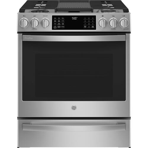 "GE Profile™ 30"" Smart Dual Fuel Slide-In Front-Control Fingerprint Resistant Range"