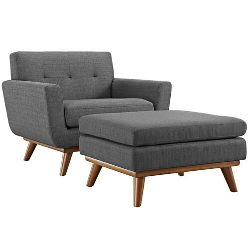 Engage 2 Piece Armchair and Ottoman in Gray
