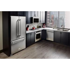 KitchenAid - 20 cu. ft. 36-Inch Width Counter-Depth French Door Refrigerator with Interior Dispense - Stainless Steel