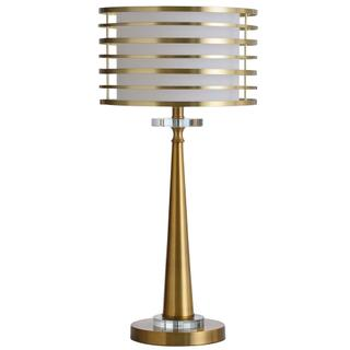 Elland  25in Metal Body & Crystal Glass Base Table Lamp with Metal Ring Orbital Shade  60 Watts X