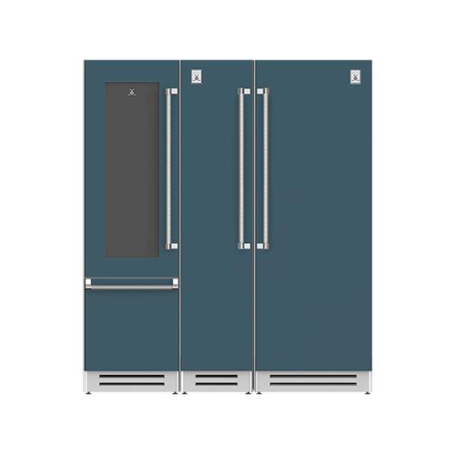"Hestan - 72"" Wine Refrigerator (L), Column Freezer and Refrigerator ® Ensemble Refrigeration Suite - Pacific-fog"
