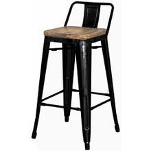 Metropolis Low Back Counter Stool Wood Seat, Black