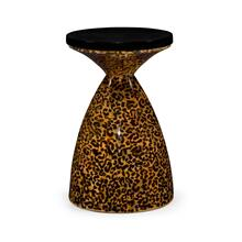 Round Leopardskin & Black Wine Table