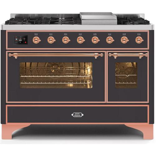 Gallery - Majestic II 48 Inch Dual Fuel Natural Gas Freestanding Range in Matte Graphite with Copper Trim