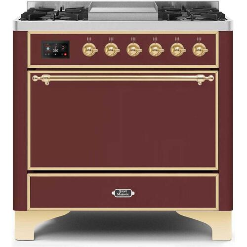 "36"" Inch Burgundy Natural Gas Freestanding Range"