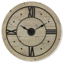COUNTRY TIME  30w X 30ht X 1d  Modern Industrial Natural Wood and Metal Wall Clock