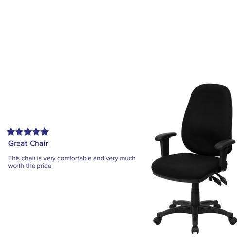 Gallery - High Back Black Fabric Executive Swivel Ergonomic Office Chair with Adjustable Arms