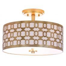 See Details - Cedar Linked 3 Light 15-inch Dia Goldflush Mount - Gold