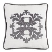 Madison White Linen Pillow W/ Velvet Embroidery (2 Colors) - Gray