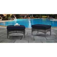 Hanover San Marino Ottoman Set with 2 Woven Ottomans with Cushions in Navy, SMAR-2PCOT-NVY