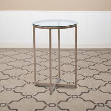 See Details - Greenwich Collection Glass End Table with Matte Gold Frame