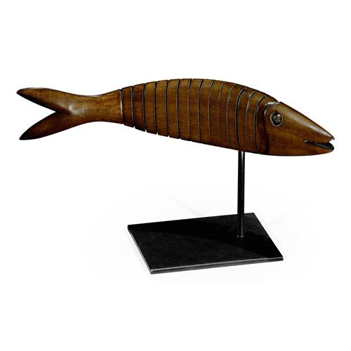 Articulated Walnut Fish on Stand