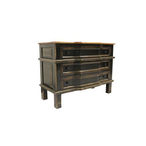 Distressed Black 3 Drawer Cabinet