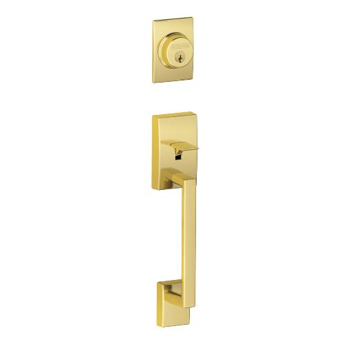 Schlage - Century In-active Handleset and Flair Lever - Bright Brass
