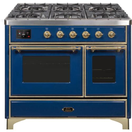 Majestic II 40 Inch Dual Fuel Natural Gas Freestanding Range in Blue with Brass Trim