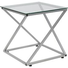 See Details - Park Avenue Collection Glass End Table with Contemporary Steel Design