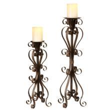 See Details - Scroll Pillar Candle Holder set/2.