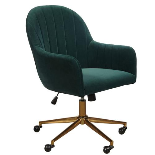 Accentrics Home - Upholstered Channel Tufted Office Chair in Emerald Green Velvet