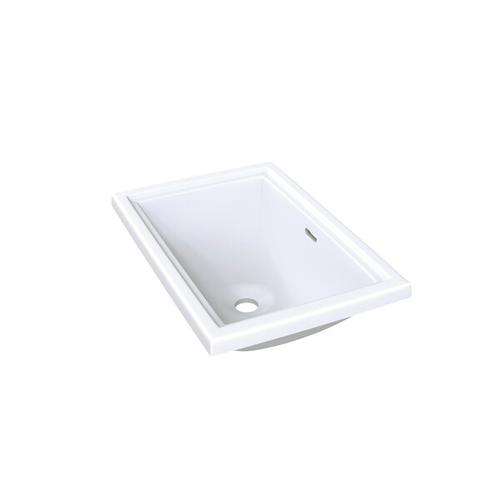 Pembroke 52 Rectangular 20-1/8 Inch Undermount or Drop-in Lavatory Sink in Volcanic Limestone™ with Internal Overflow - Gloss White
