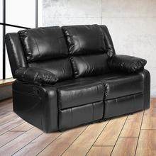 Harmony Series Black LeatherSoft Loveseat with Two Built-In Recliners