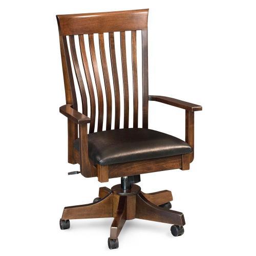 Simply Amish - Loft II Arm Desk Chair, Fabric Cushion Seat