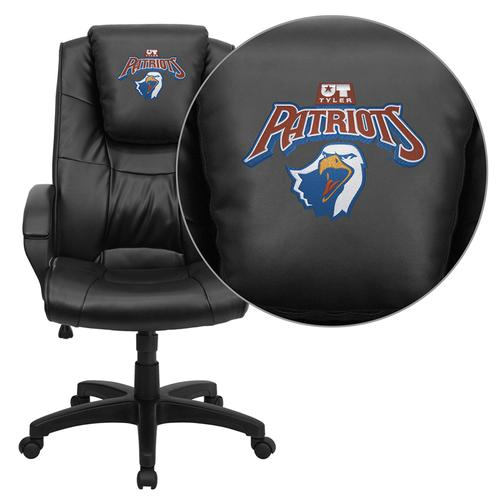 Texas at Tyler Patriots Embroidered Black Leather Executive Office Chair