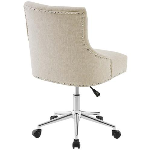Regent Tufted Button Swivel Upholstered Fabric Office Chair in Beige