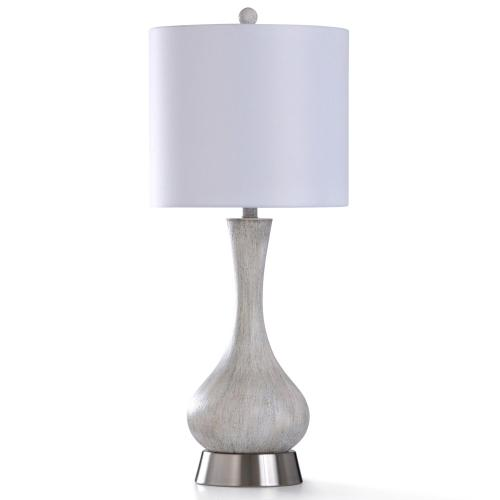CHRYSTAL CREAM TABLE LAMP  13in w. X 31in ht.  Transitional Smooth Painted Aged Egg Shell Body Tab