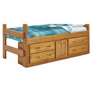 Woodcrest - Heartland Underbed 4 Drawer with 1 Door Storage with options: Honey Pine