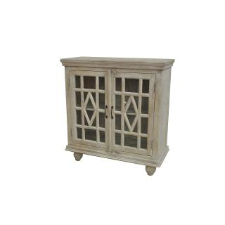 See Details - Southbrook Mango Wood White Wash 2 Door Cabinet