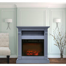 Cambridge Sienna 34 In. Electric Fireplace w/ 1500W Log Insert and Slate Blue Mantel, CAM3437-1SBL