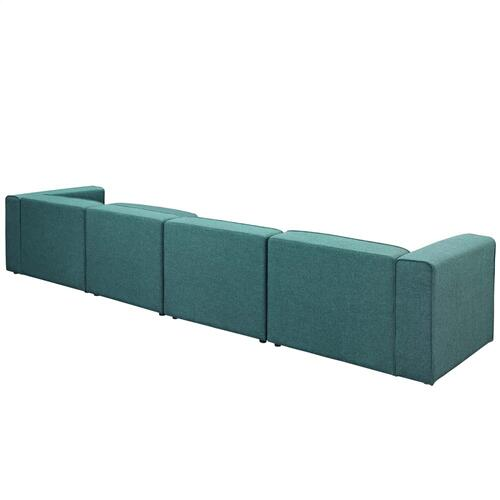 Modway - Mingle 5 Piece Upholstered Fabric Sectional Sofa Set in Teal