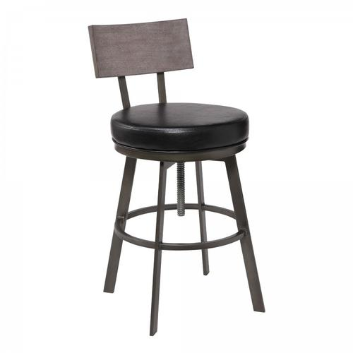 Armen Living - Montreal Mid-Century Adjustable Barstool in Mineral Finish with Black Faux Leather and Grey Walnut Wood Finish Back